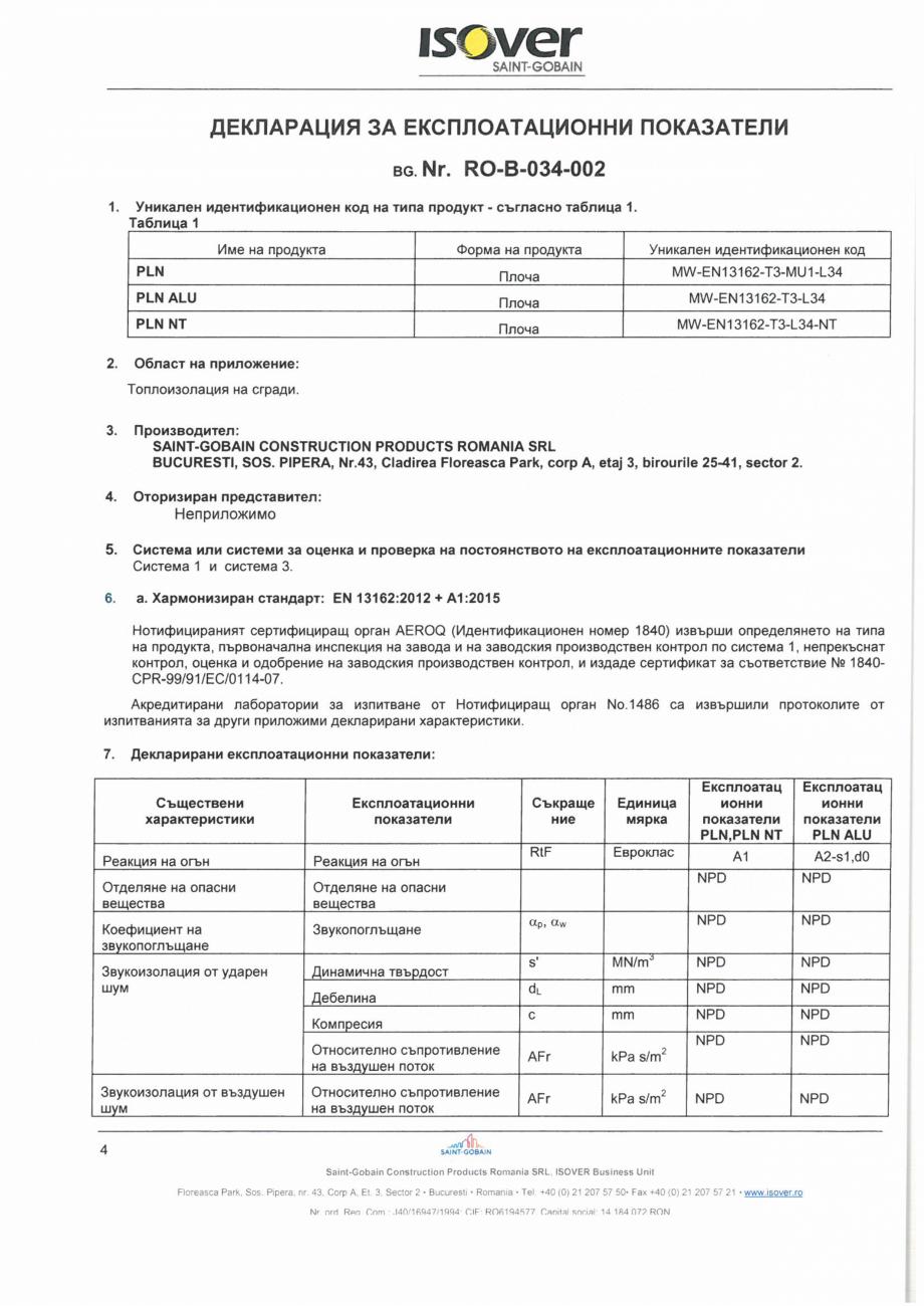Pagina 4 - Declaratie de performanta pentru vata minerala bazaltica ISOVER PLN Certificare produs...