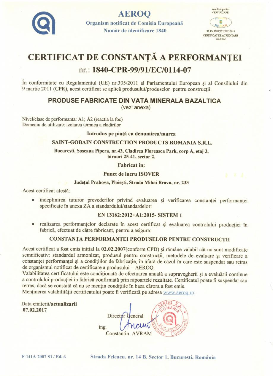 Pagina 1 - Certificat de constanta a performantei pentru vata minerala bazaltica ISOVER PLN...