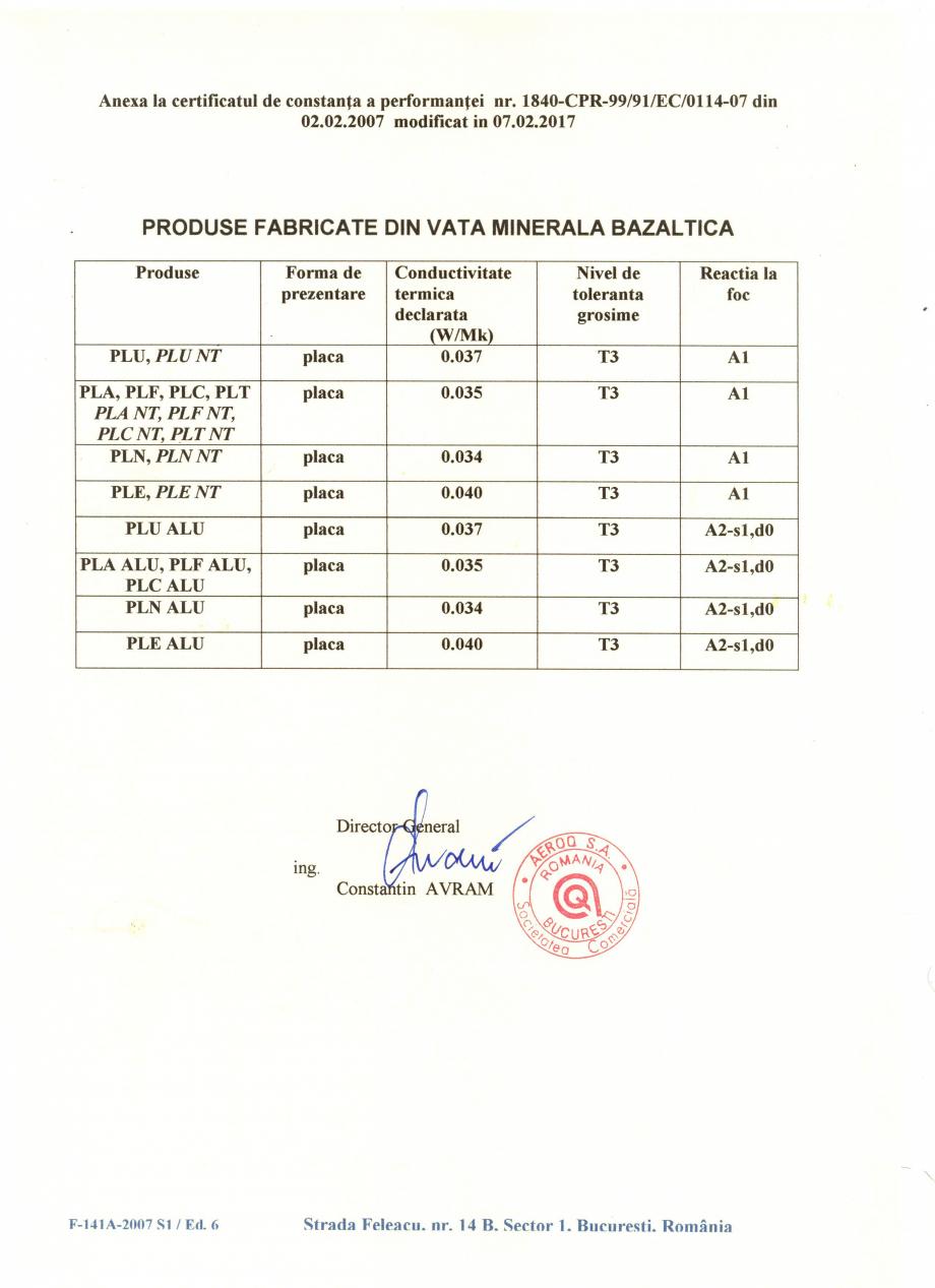 Pagina 2 - Certificat de constanta a performantei pentru vata minerala bazaltica ISOVER PLN...