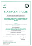 Certificat EUCEB pentru vata minerala bazaltica ISOVER - PLU, PLF, PLN