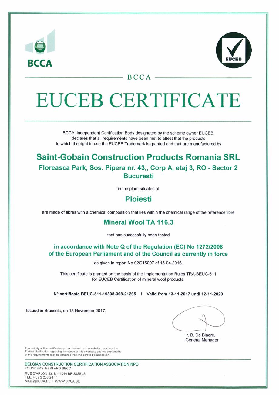 Pagina 1 - Certificat EUCEB pentru vata minerala bazaltica ISOVER PLU, PLF, PLN Certificare produs...