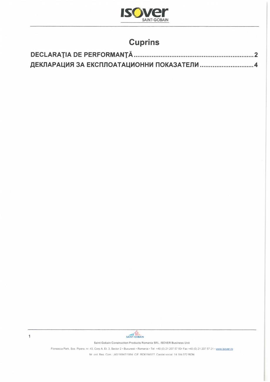 Pagina 1 - Declaratie de performanta pentru vata minerala bazaltica  ISOVER PLU Certificare produs...