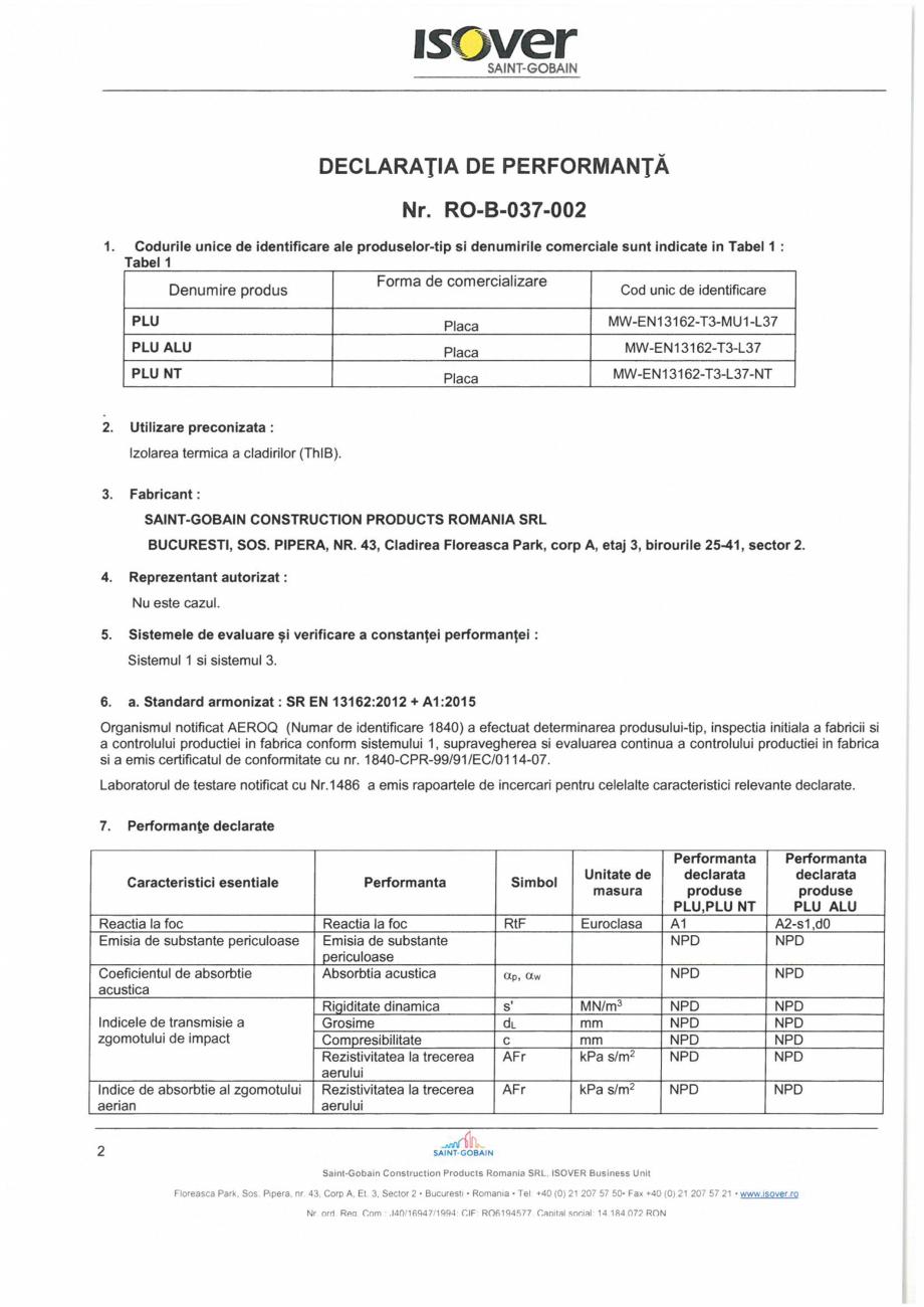 Pagina 2 - Declaratie de performanta pentru vata minerala bazaltica  ISOVER PLU Certificare produs...