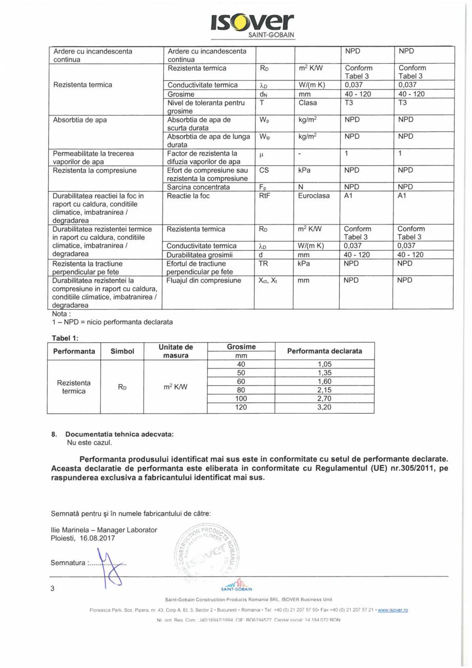 Pagina 3 - Declaratie de performanta pentru vata minerala bazaltica  ISOVER PLU Certificare produs...