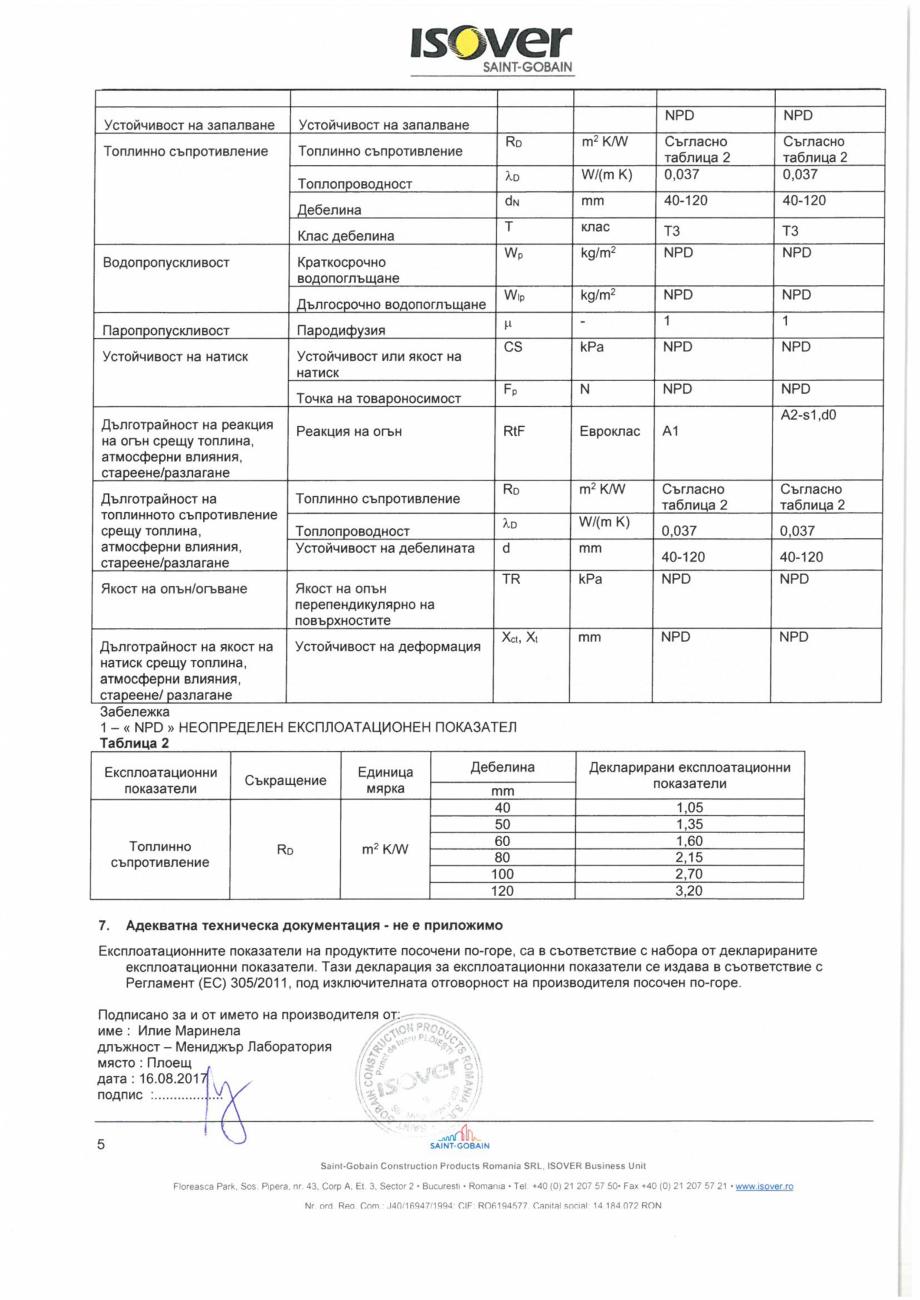 Pagina 5 - Declaratie de performanta pentru vata minerala bazaltica  ISOVER PLU Certificare produs...