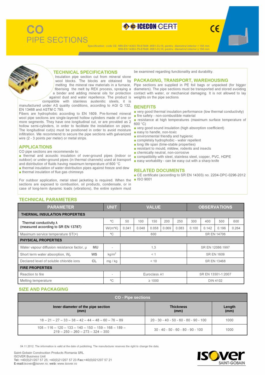 Pagina 1 - Cochilii rigide necaserate cu folie de aluminiu ISOVER  CO/ CO AL Fisa tehnica CO PIPE...