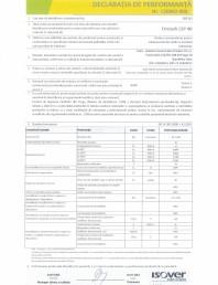 Declaratie de performanta pentru saltea lamelara din vata minerala bazaltica