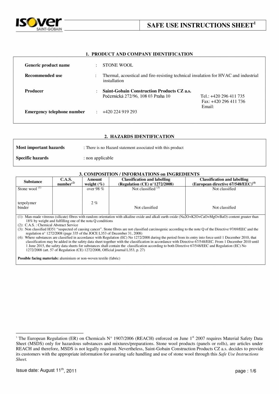 Pagina 1 - Instructiuni de utilizare si securitate pentru vata minerala bazaltica ISOVER  CO/ CO AL,...