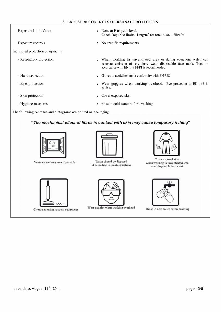 Pagina 3 - Instructiuni de utilizare si securitate pentru vata minerala bazaltica ISOVER  CO/ CO AL,...