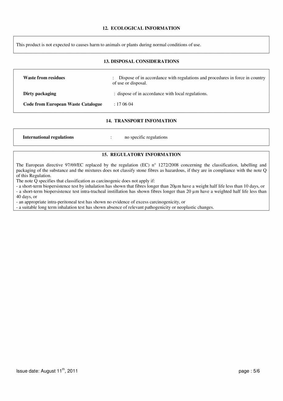 Pagina 5 - Instructiuni de utilizare si securitate pentru vata minerala bazaltica ISOVER  CO/ CO AL,...