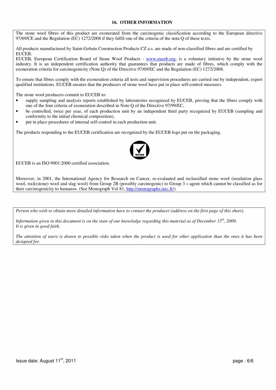 Pagina 6 - Instructiuni de utilizare si securitate pentru vata minerala bazaltica ISOVER  CO/ CO AL,...