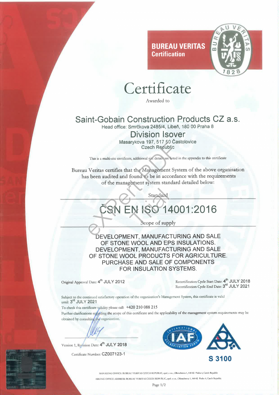 Pagina 1 - Certificat ISO 14001:2016 ISOVER  CO/ CO AL, TECH Wired Mat 4.1 , TECH Wired Mat 5.1,...