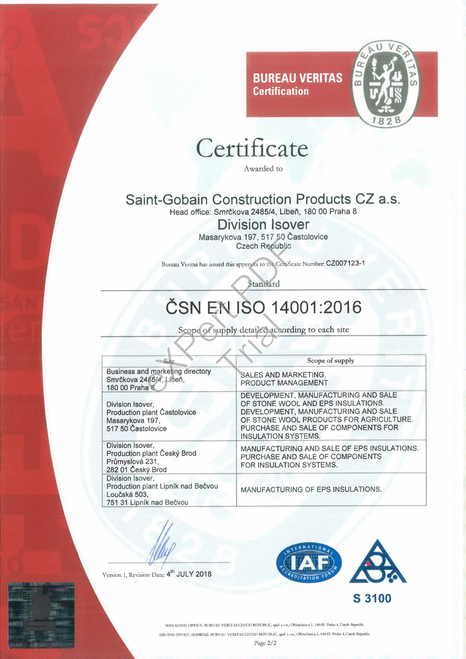 Pagina 2 - Certificat ISO 14001:2016 ISOVER  CO/ CO AL, TECH Wired Mat 4.1 , TECH Wired Mat 5.1,...