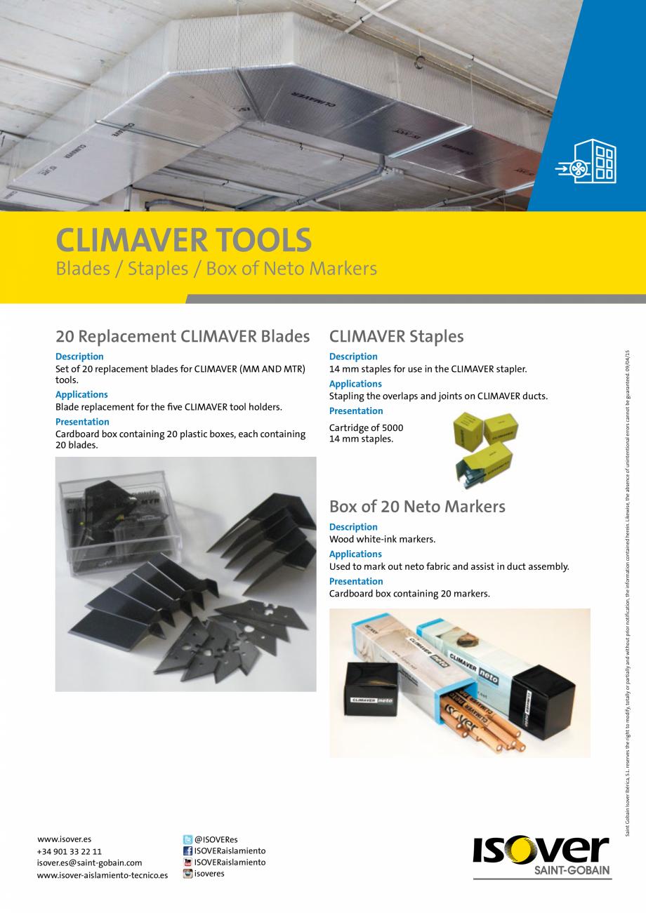 Pagina 1 - Consumabile Climaver ISOVER Fisa tehnica Romana CLIMAVER TOOLS  Blades / Staples / Box of...