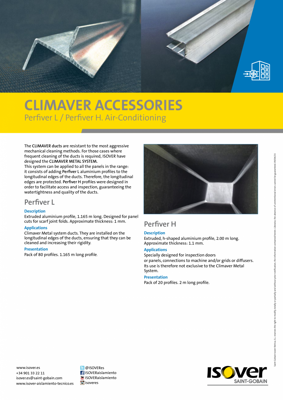 Pagina 1 - Accesorii  Climaver ISOVER Fisa tehnica Romana CLIMAVER ACCESSORIES The CLIMAVER ducts...