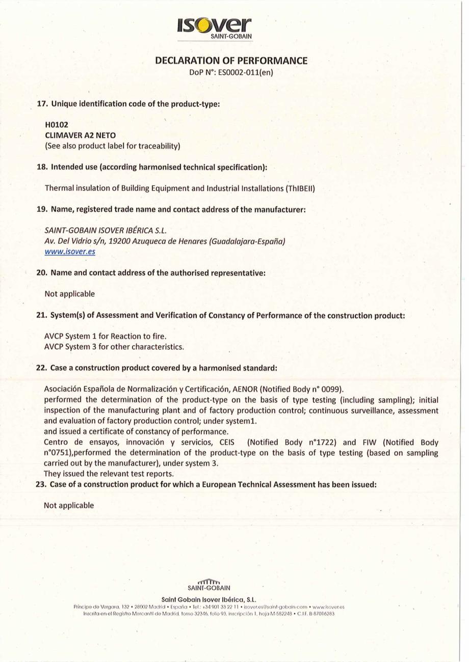 Pagina 1 - Declaratie de performanta pentru panouri rigide din vata minerala de sticla ISOVER...