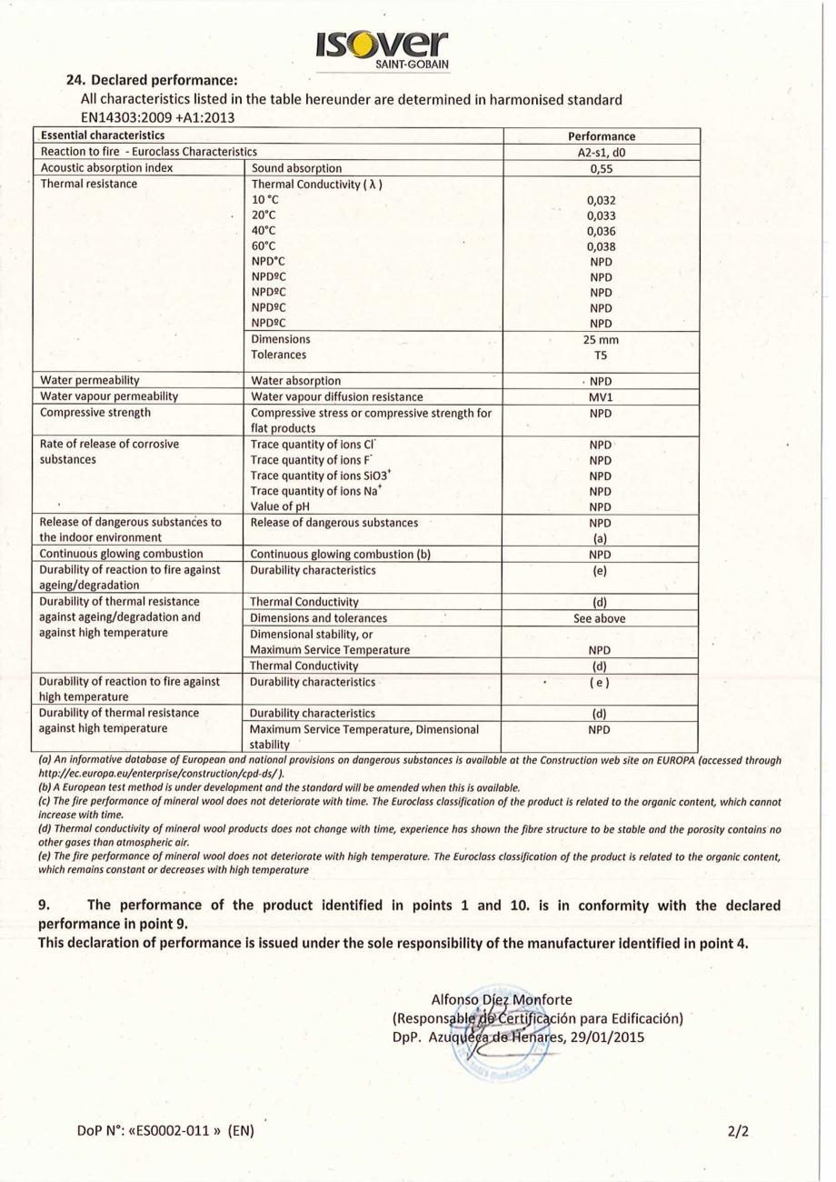 Pagina 2 - Declaratie de performanta pentru panouri rigide din vata minerala de sticla ISOVER...