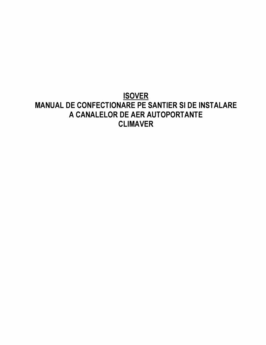Pagina 1 - Manual de instalare a canalelor de aer autoportante Climaver ISOVER Climaver A2 Neto,...