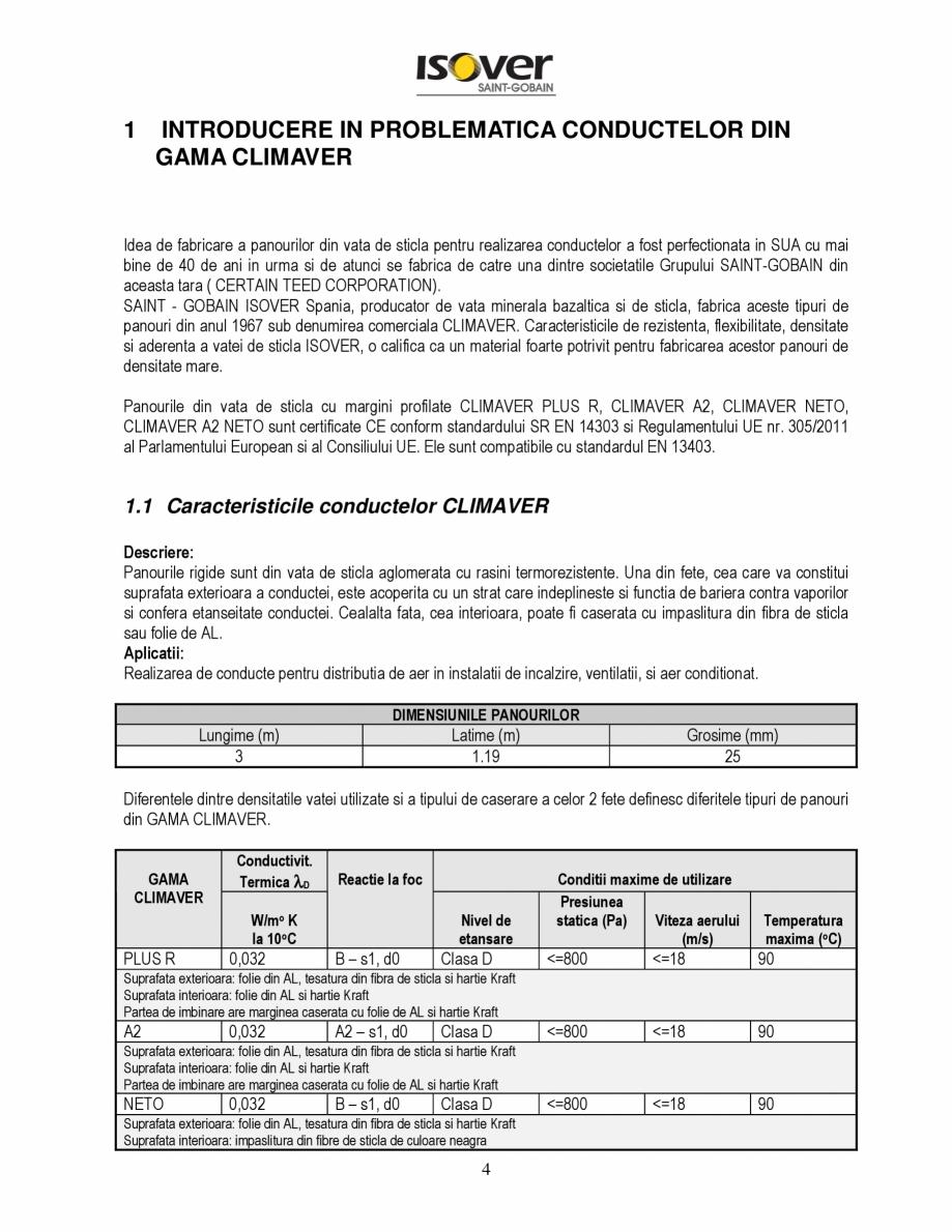 Pagina 4 - Manual de instalare a canalelor de aer autoportante Climaver ISOVER Climaver A2 Neto,...