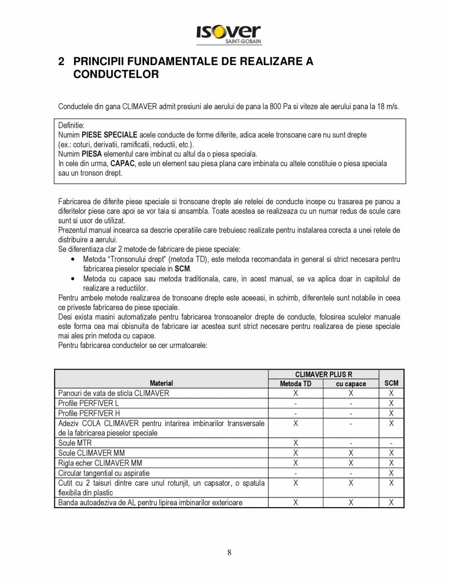 Pagina 8 - Manual de instalare a canalelor de aer autoportante Climaver ISOVER Climaver A2 Neto,...