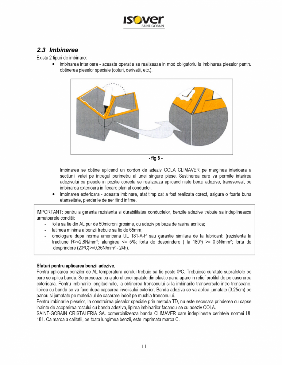 Pagina 11 - Manual de instalare a canalelor de aer autoportante Climaver ISOVER Climaver A2 Neto,...