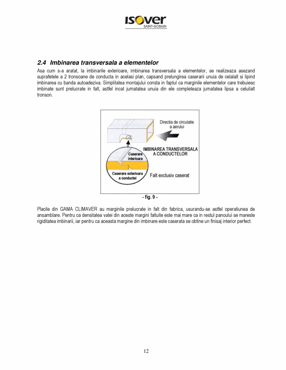 Pagina 12 - Manual de instalare a canalelor de aer autoportante Climaver ISOVER Climaver A2 Neto,...