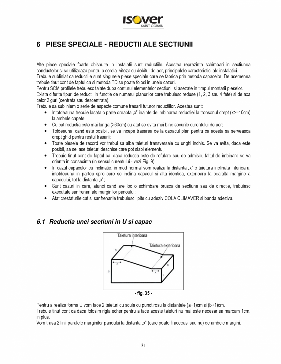 Pagina 31 - Manual de instalare a canalelor de aer autoportante Climaver ISOVER Climaver A2 Neto,...