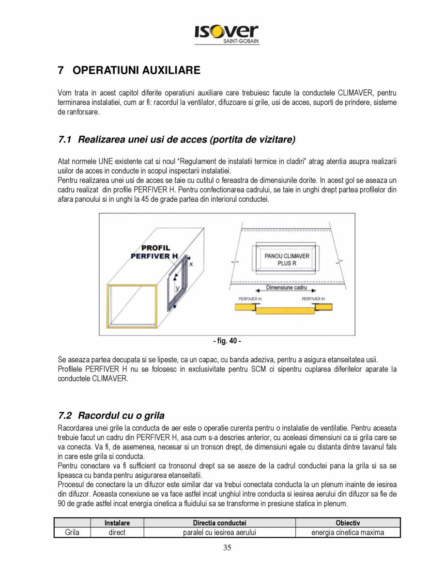 Pagina 35 - Manual de instalare a canalelor de aer autoportante Climaver ISOVER Climaver A2 Neto,...