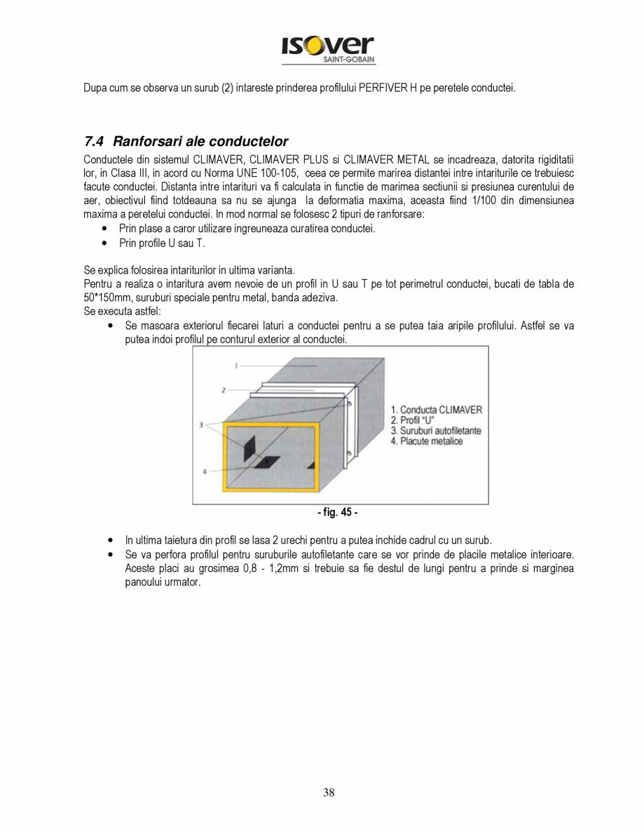 Pagina 38 - Manual de instalare a canalelor de aer autoportante Climaver ISOVER Climaver A2 Neto,...