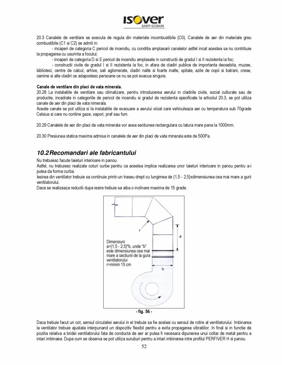 Pagina 52 - Manual de instalare a canalelor de aer autoportante Climaver ISOVER Climaver A2 Neto,...