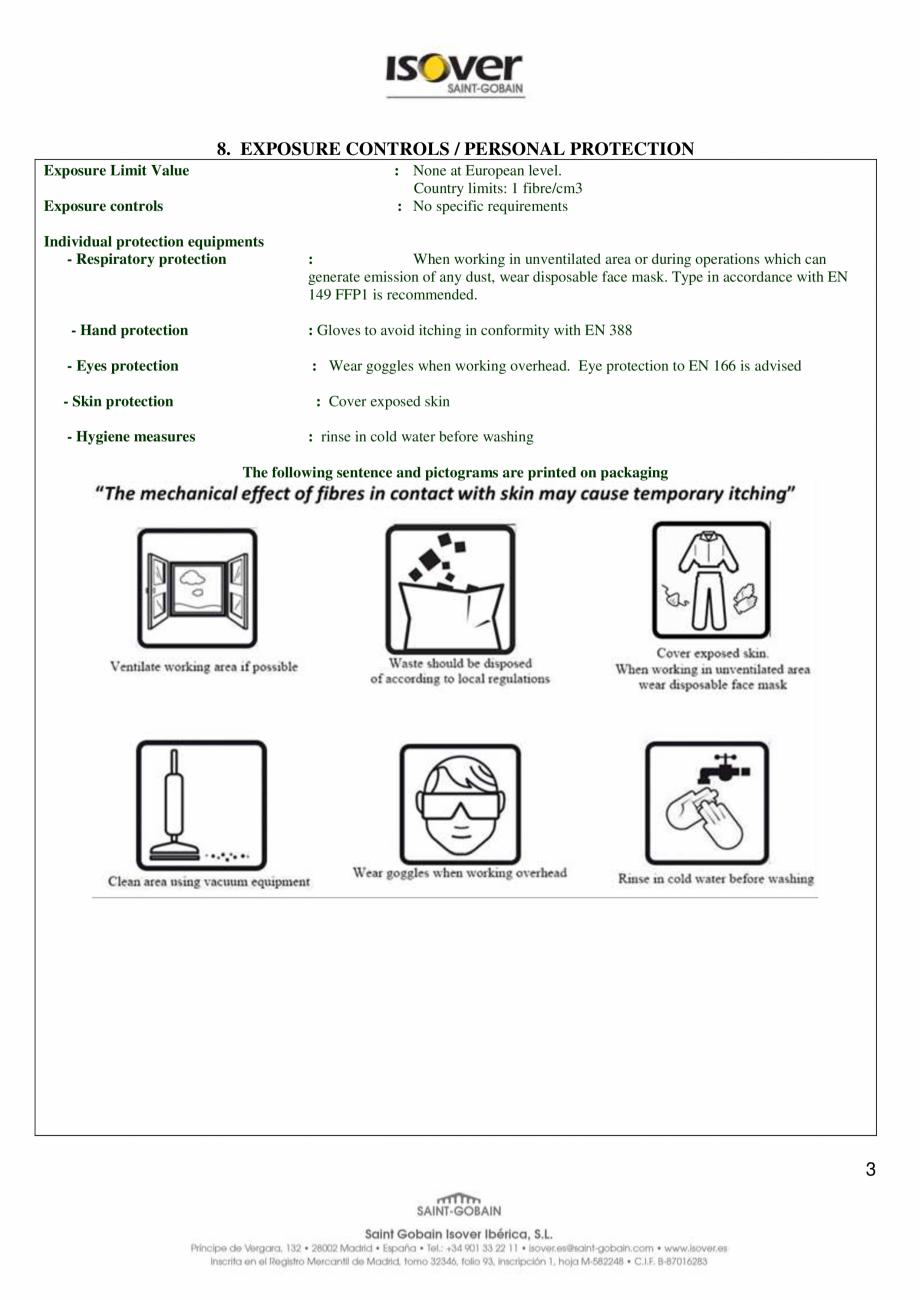 Pagina 3 - Instructiuni de utilizare si securitate pentru vata minerala de sticla ISOVER Climaver A2...