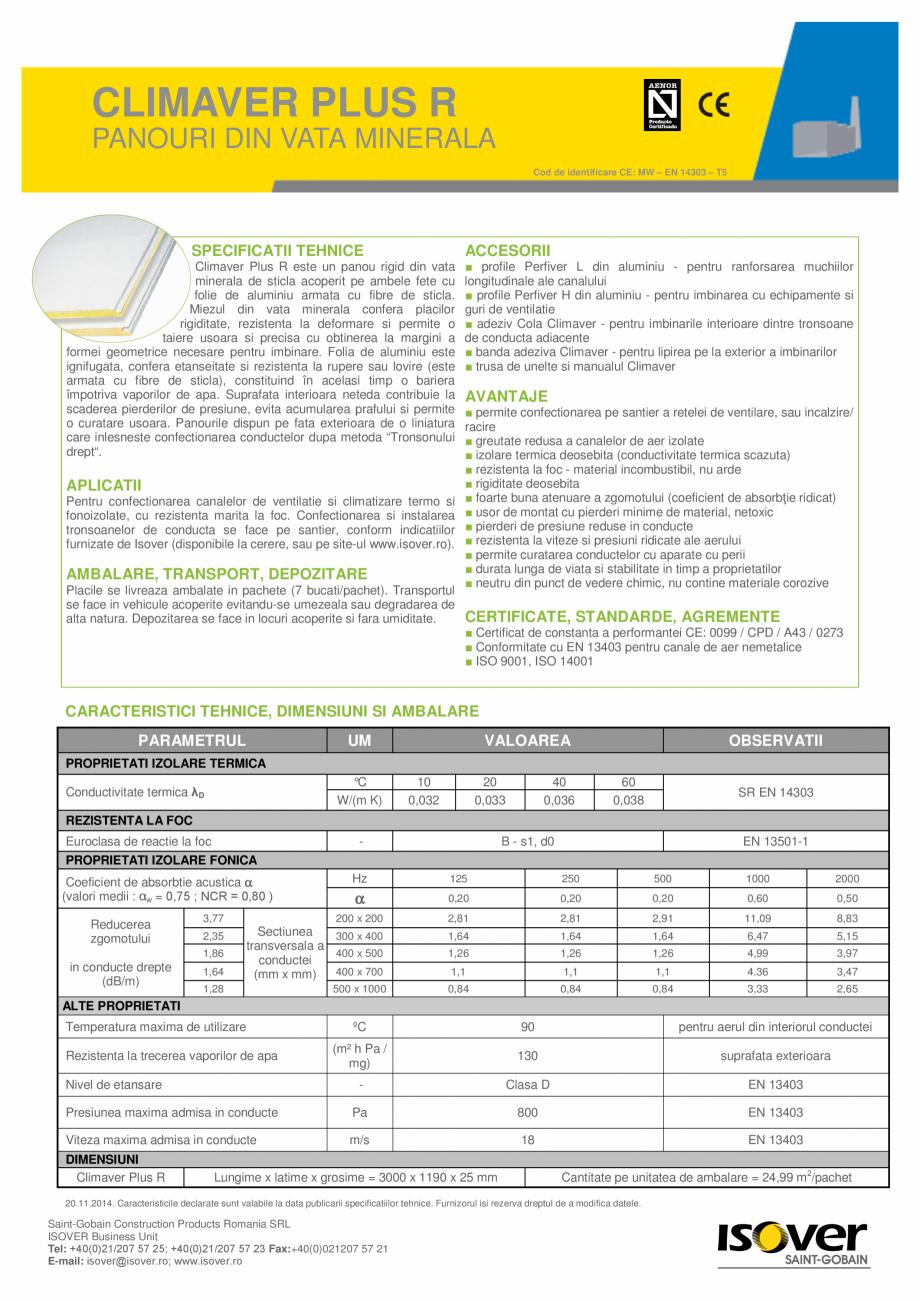 Pagina 1 - Panouri rigide din vata minerala de sticla ISOVER Climaver Plus R Fisa tehnica Romana...