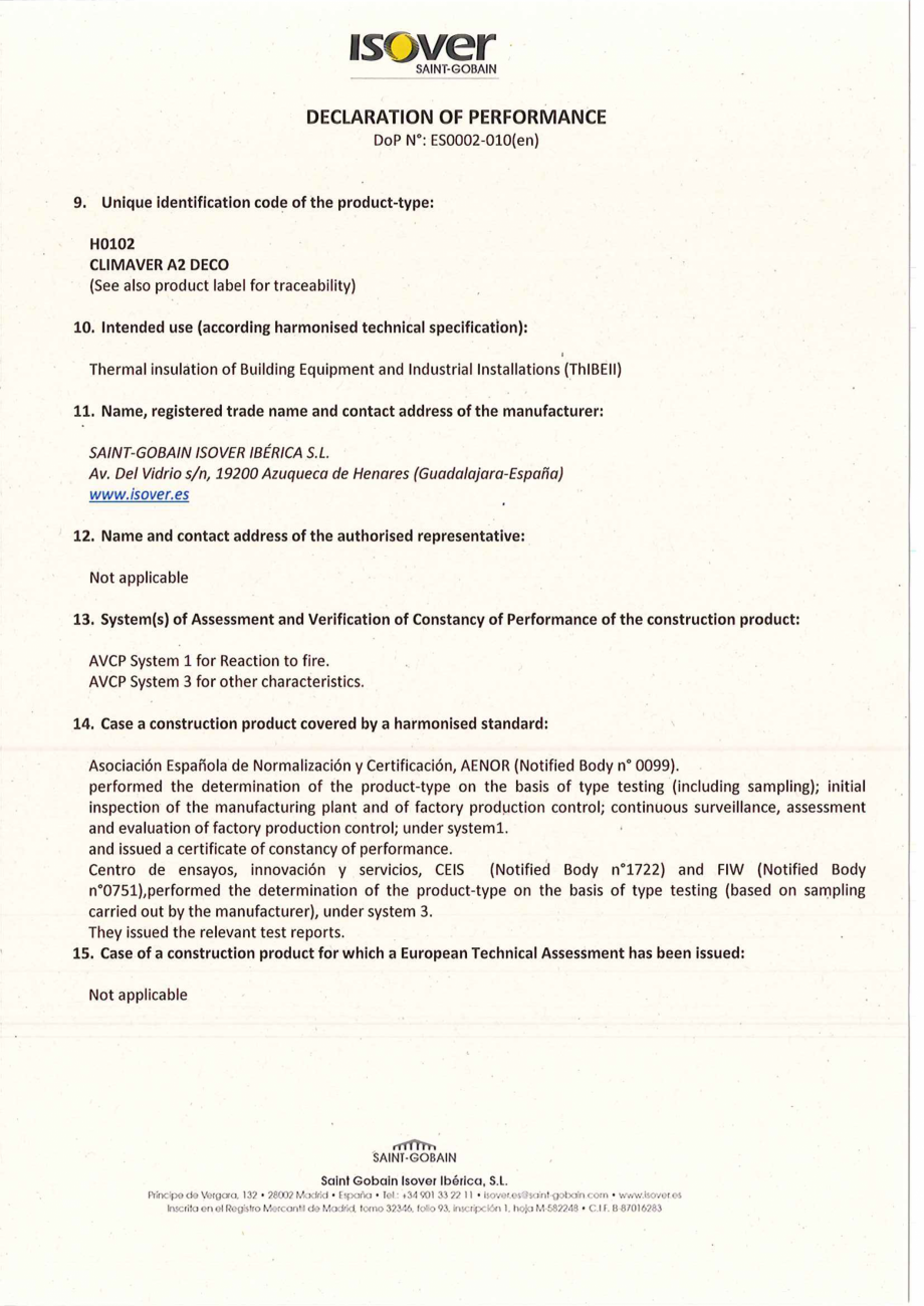 Pagina 1 - Declaratie de performanta pentru vata minerala de sticla  ISOVER Climaver Deco...