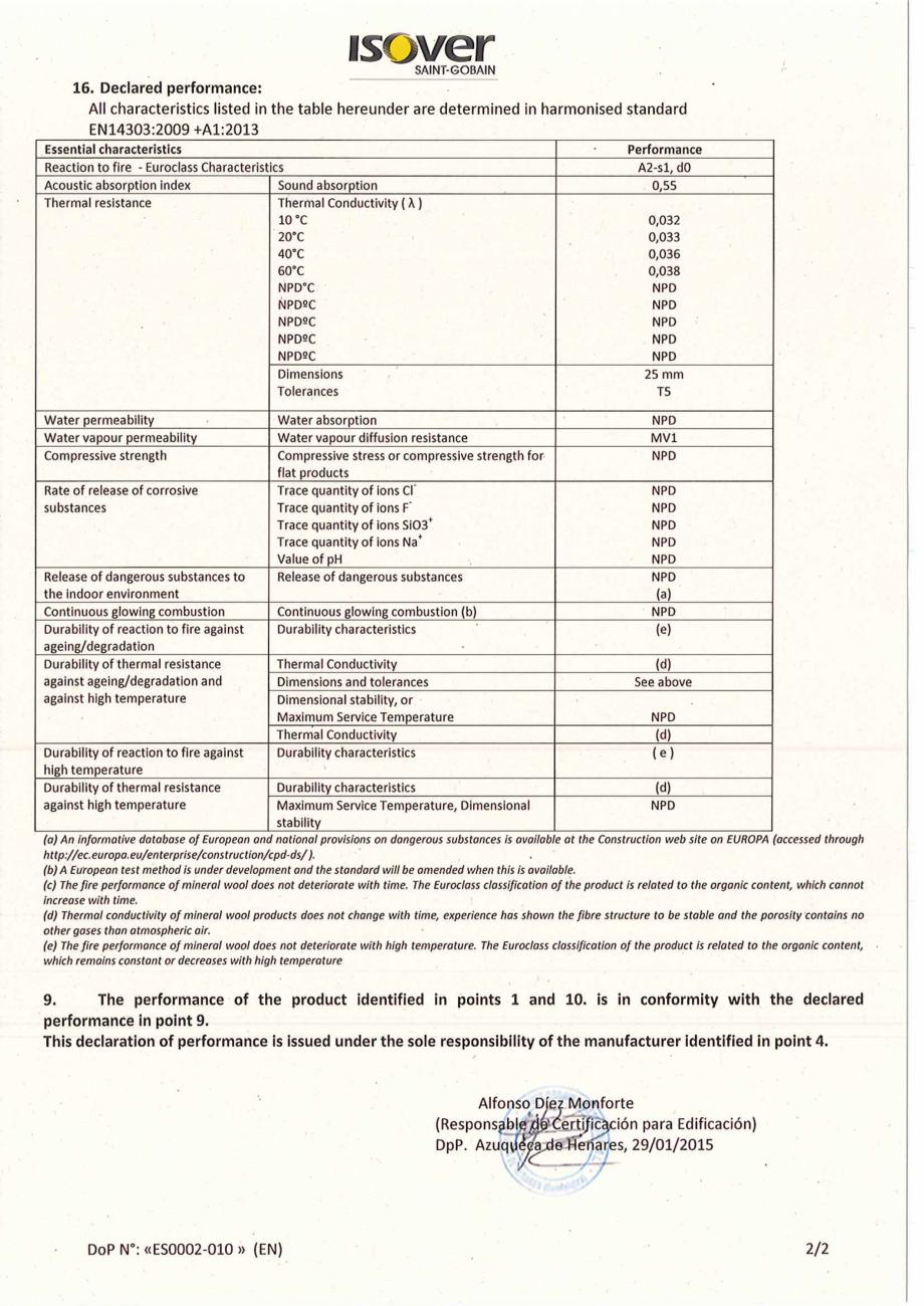 Pagina 2 - Declaratie de performanta pentru vata minerala de sticla  ISOVER Climaver Deco...