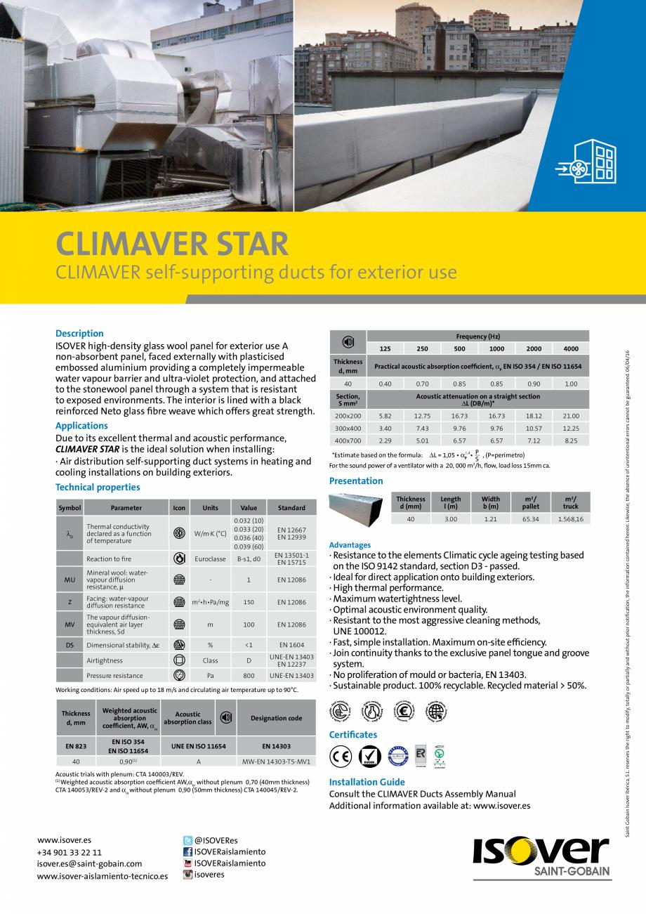 Pagina 1 - Panouri rigide din vata minerala de sticla  ISOVER Climaver Star Fisa tehnica Engleza...