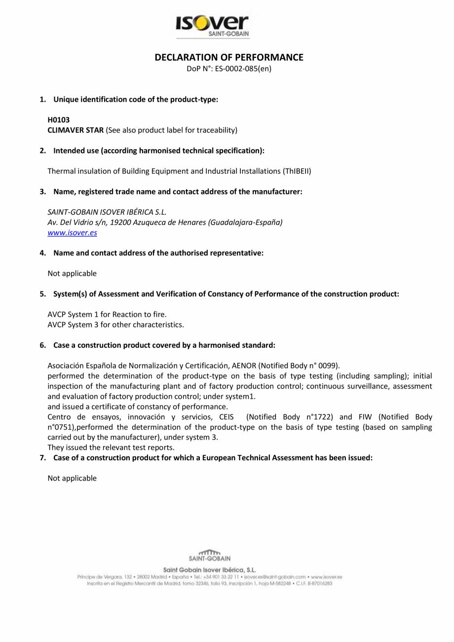Pagina 1 - Declaratie de performanta pentru pentru vata minerala de sticla  ISOVER Climaver Star...