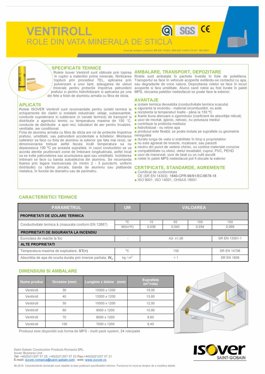 Pagina 1 - Declaratie de performanta pentru pentru vata minerala de sticla ISOVER Ventiroll...