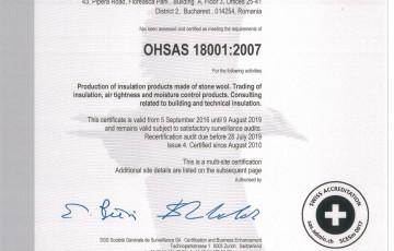 Certificat OHSAS 18001 ISOVER