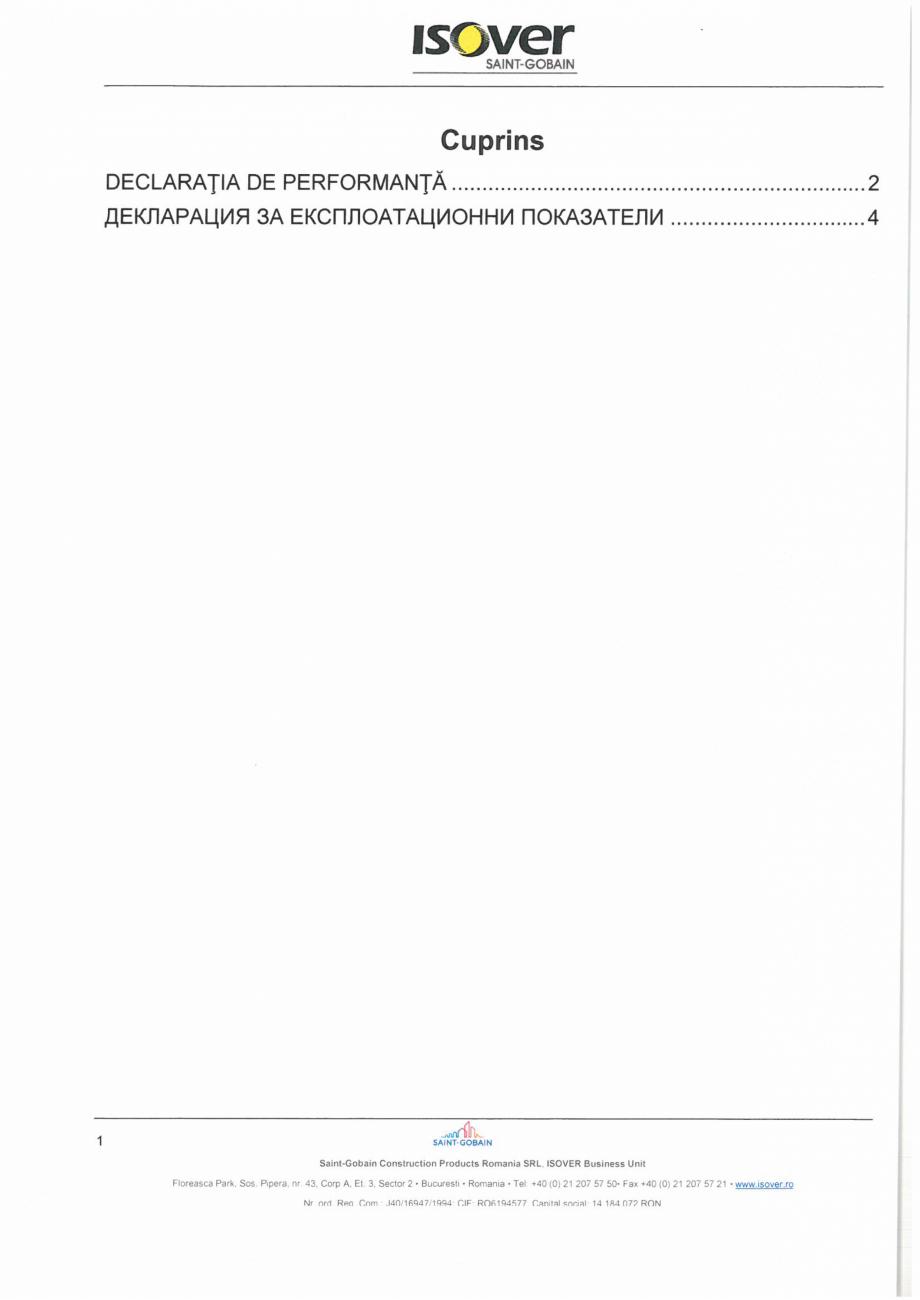 Pagina 1 - Declaratie de performanta pentru vata minerala bazaltica ISOVER PLA NT Certificare produs...