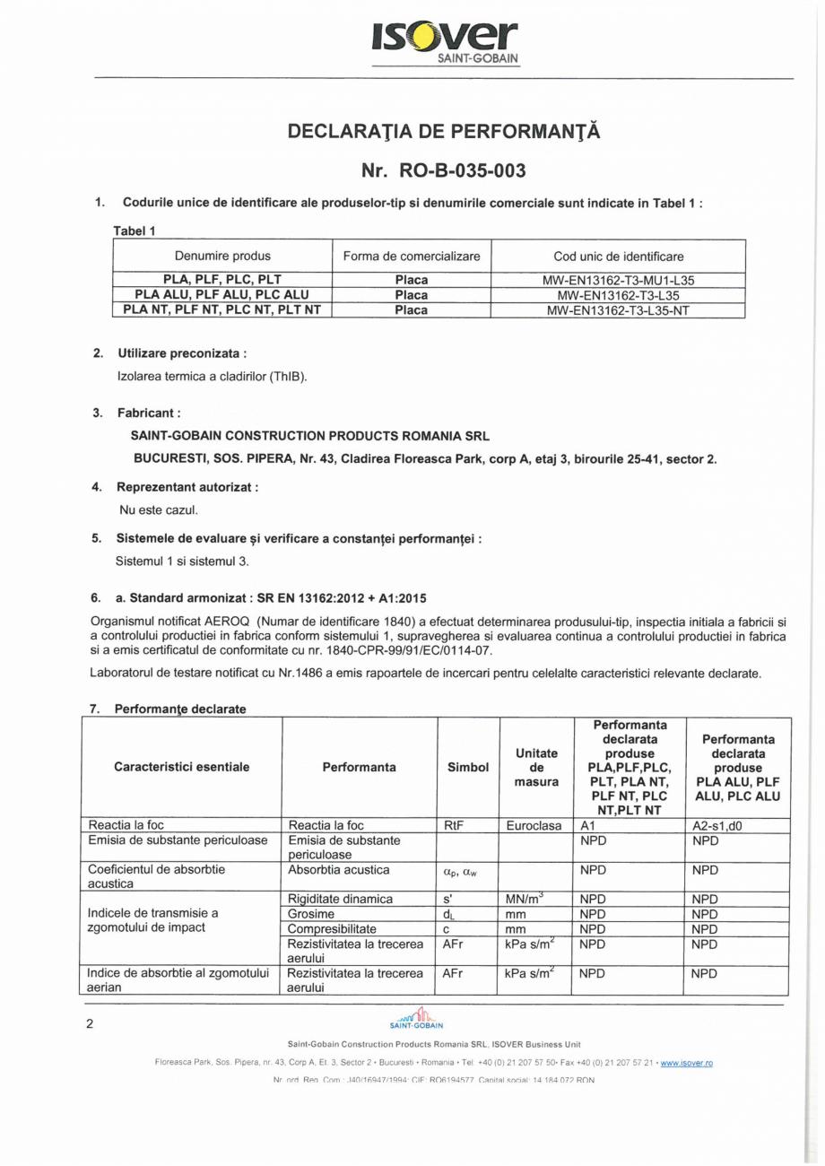 Pagina 2 - Declaratie de performanta pentru vata minerala bazaltica ISOVER PLA NT Certificare produs...