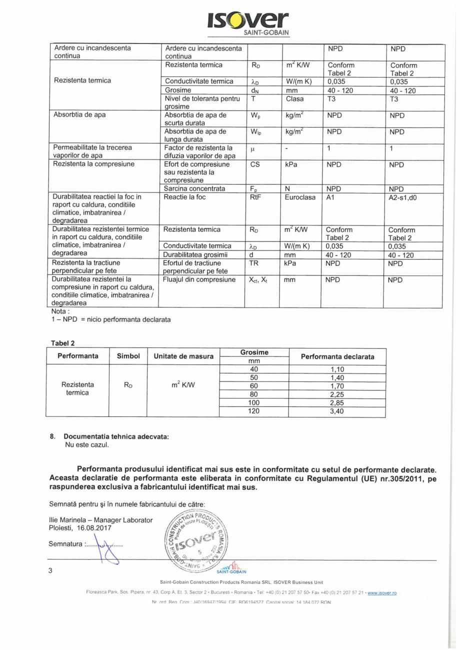 Pagina 3 - Declaratie de performanta pentru vata minerala bazaltica ISOVER PLA NT Certificare produs...