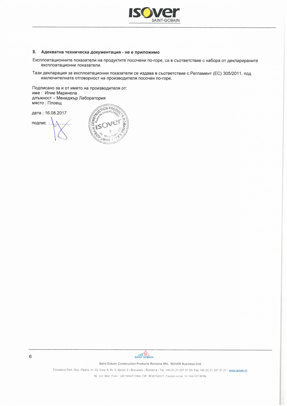 Pagina 6 - Declaratie de performanta pentru vata minerala bazaltica ISOVER PLA NT Certificare produs...