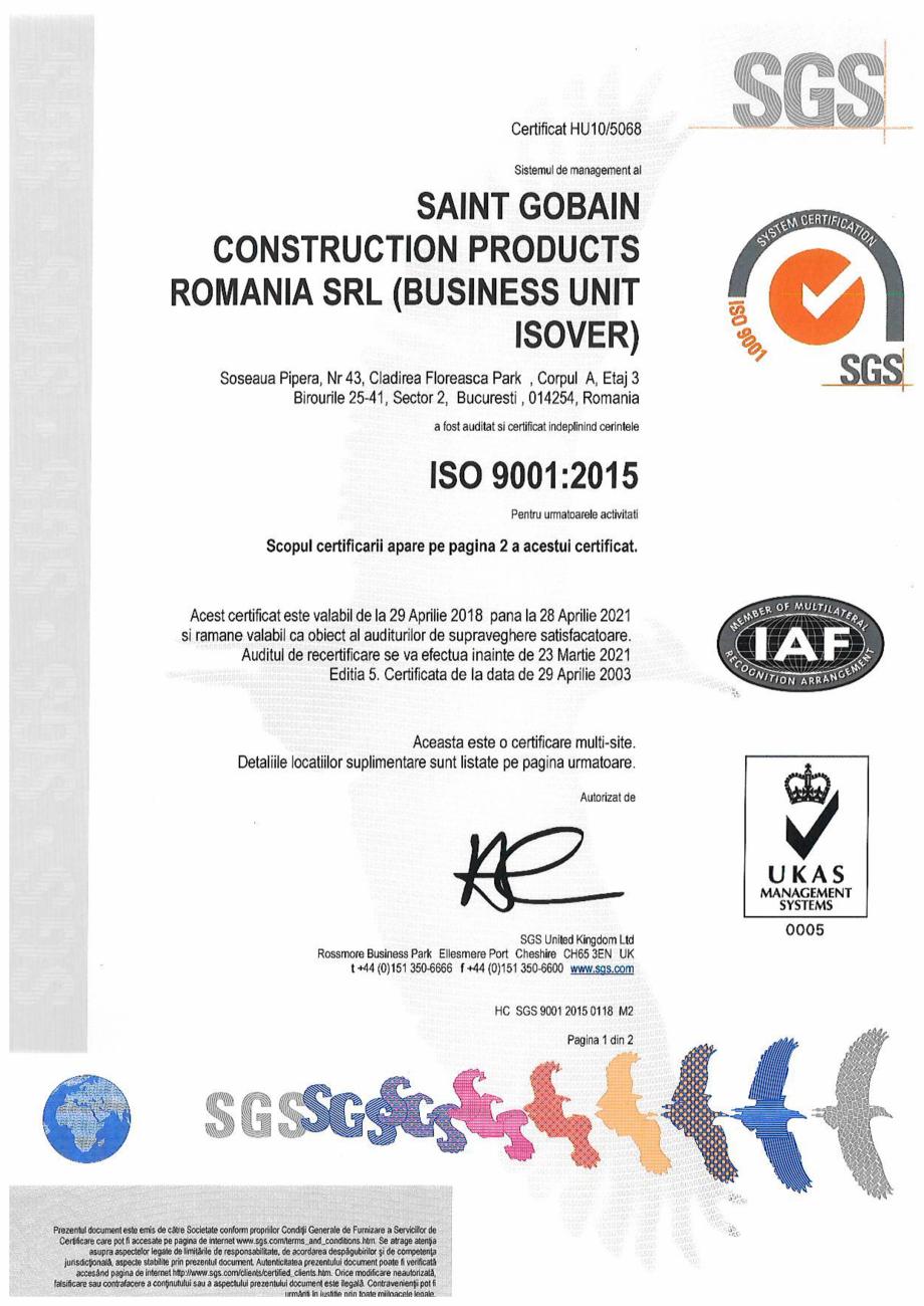 Pagina 1 - Certificat ISO 9001:2015 pentru vata minerala ISOVER PLA NT Certificare produs Romana