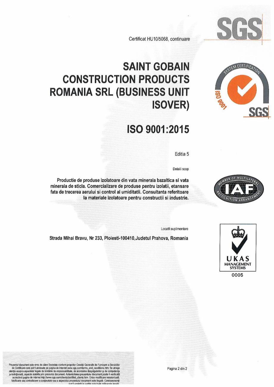 Pagina 2 - Certificat ISO 9001:2015 pentru vata minerala ISOVER PLA NT Certificare produs Romana