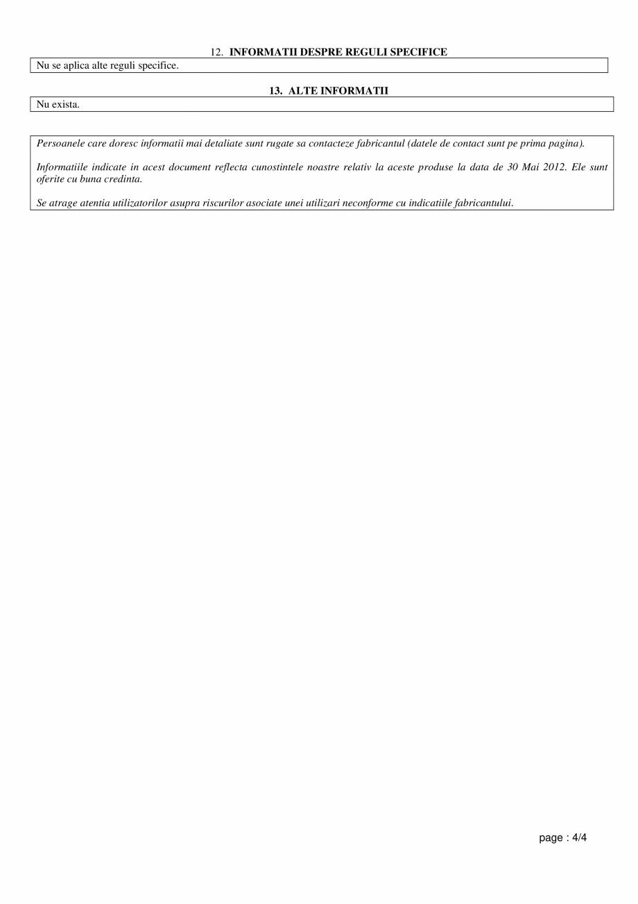 Pagina 4 - Fisa de utilizare si securitate pentru vata de sticla ISOVER RIO, RIO ALU Instructiuni...