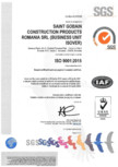 Certificat ISO 9001:2015 pentru vata minerala de sticla ISOVER - RIO ALU, RIO