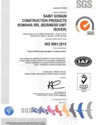 Certificat ISO 9001:2015 pentru vata minerala de sticla