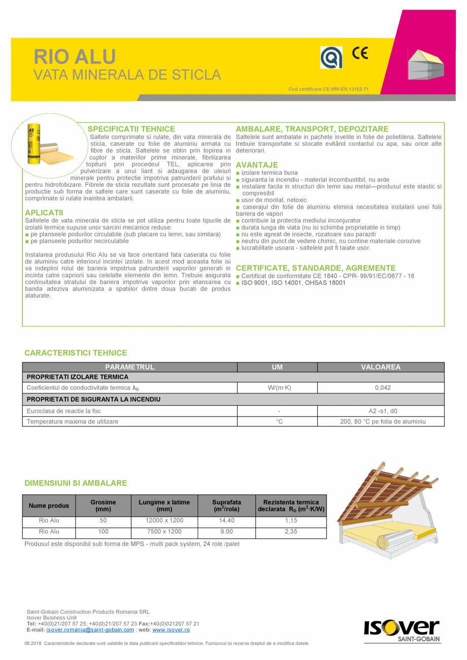 Pagina 1 - Saltea de vata minerala de sticla  ISOVER RIO ALU Fisa tehnica Romana RIO ALU  VATA...