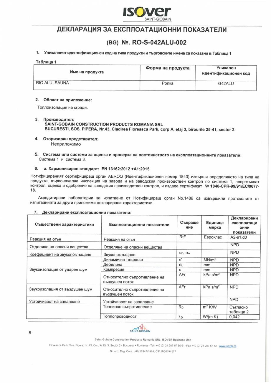 Pagina 8 - Declaratia de performanta pentru saltele de vata minerala de sticla  ISOVER RIO ALU...