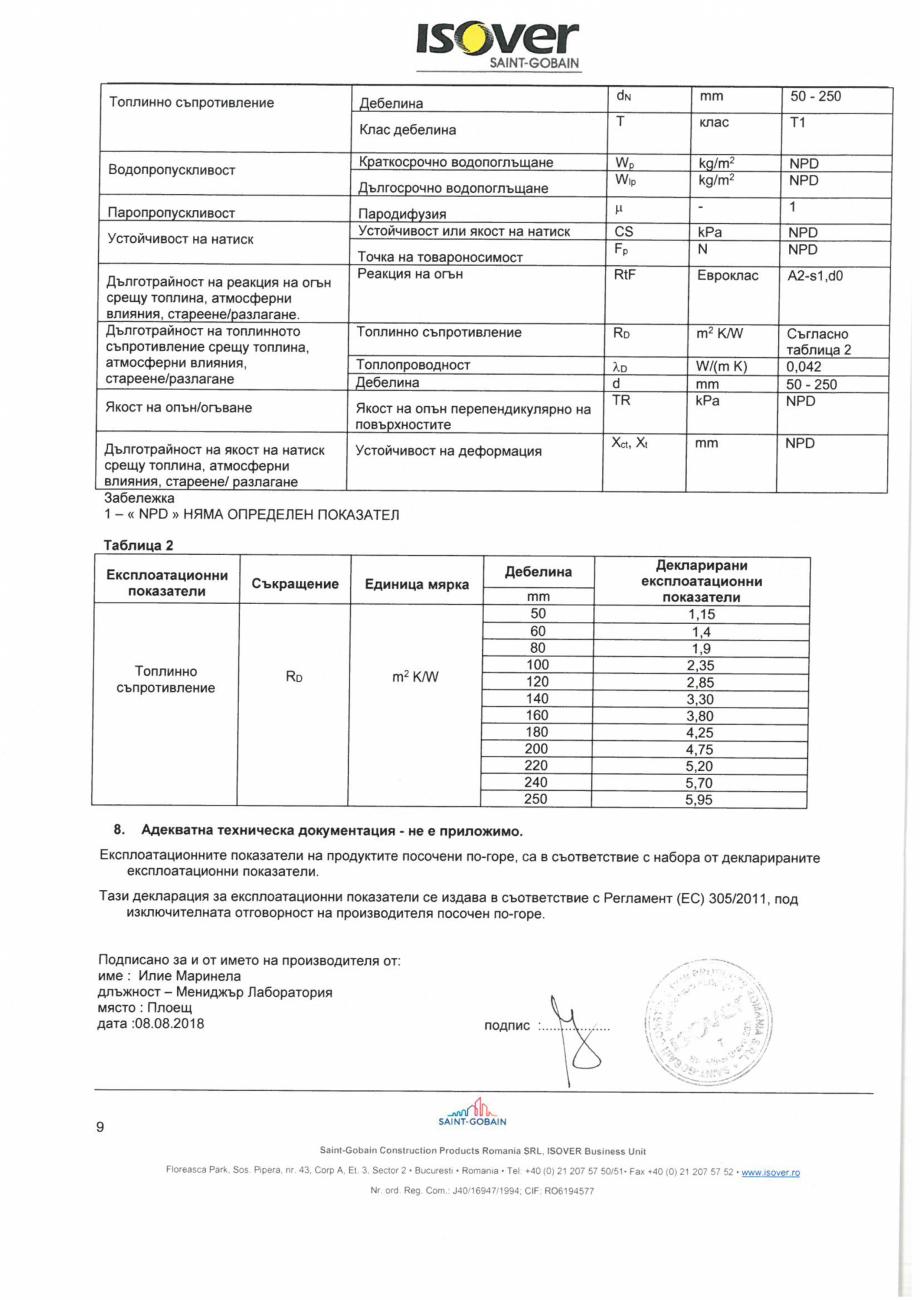 Pagina 9 - Declaratia de performanta pentru saltele de vata minerala de sticla  ISOVER RIO ALU...
